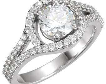 6.5mm  1 ct  Round  Forever One (GHI) Moissanite Solid 14K White Gold Diamond  Engagement  Ring   - ST232760
