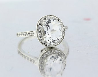 Natural 3 Cts SPARKLING White Topaz Solid 14K White Gold Diamond Halo Ring