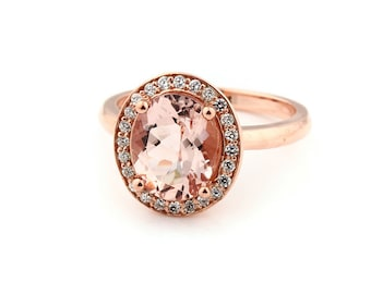 10x8mm AAA cut  1.55 ct  Natural  Morganite Solid 14K Rose Gold  Halo Diamond Engagement Ring w/ Fleur-de-lis Ring  - Gem883