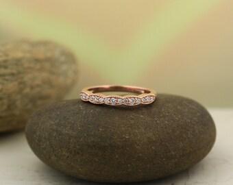 Art Deco Antique Style Diamond Milgrain 14K White/Yellow/Rose  Gold half  Eternity Wedding Band Ring Aniversary Ring  Gem1277 on Promotion