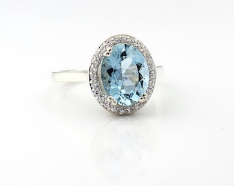 Natural AAA  10x8mm blue Aquamarine   Solid 14K White Gold Diamond engagement  Halo Ring - Gem829