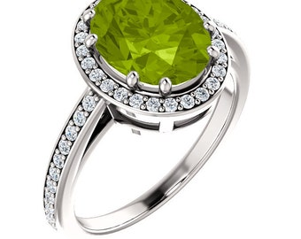 Natural 10x8mm  Green Peridot Solid 14K White Gold Diamond engagement  Halo Ring
