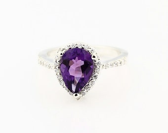 Natural 10x7mm Pear Shape Purple Amethyst  Solid 14K White Gold engagement Ring