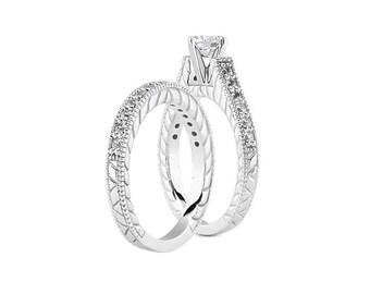 1 carat 6.5mm Round Forever Brilliant Moissanite Solid 14K White Gold Diamond Engagement  Ring set - ENS4332