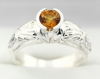 Natural 5mm  Golden Yellow Citrine Solid 14K White Gold Antique Ring