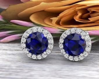 Natural Diamond & lab Created Blue Sapphire Halo Stud Earrings In 14K White/Yellow G166