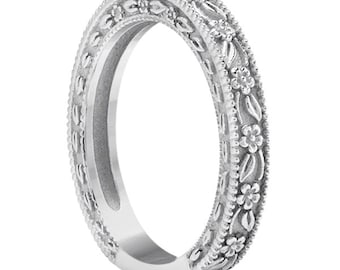 Carved Floral Designed Wedding Band  14k White   Gold ****Special for you*****-ENS4651