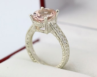 Stunning Natural Morganite  Solid 14K White Gold Diamond engagement Ring-antique style