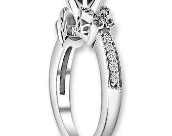 Natural  AAA 1.25 ct  Black & White  Diamond  Engagement Ring In 14K White / Yellow / Rose Gold ENS4188