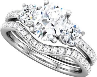 7x5mm Oval Forever One (GHI) Moissanite Solid 14K White Gold Diamond  Engagement  Ring Set- - ST232978