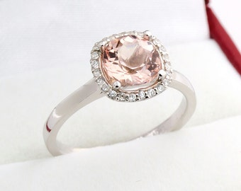 7mm Cushion   1.50  ct Natural  Morganite Solid 14K White Gold Diamond Engagement Ring - Gem843- ON SALE