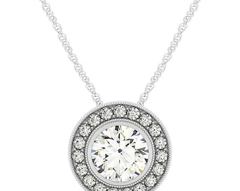1 ct 6.5mm Forever One (GHI) Moissanite  Solid 14k white gold Antique Halo Style diamond Pendant w / Cable chain - Ov42903