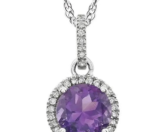 "14k White Gold Diamond Amethyst Halo style Pendant Necklace, 18"" ( Other Center Available)"