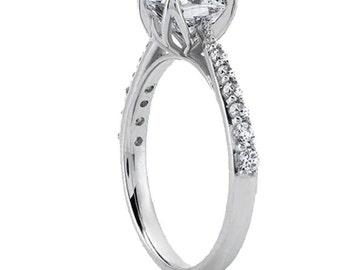 1.00 carat 6mm Cushion Cut Forever One (GHI) Moissanite Diamond Engagement Ring ENR0417