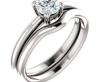 1/2 ct 5mm  Forever One (GHI) Moissanite Solid 14K White Gold   Engagement  Ring Set  - ST82792-1194