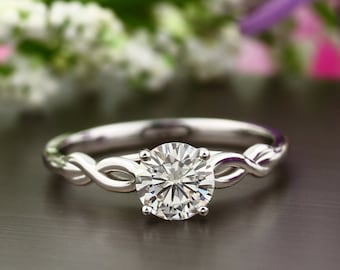 Infinity Style Solitaire Engagement Ring in 14K Solid Gold  , 1CT Round Diamond Stimulant Wedding  Ring / Moissanite Ring GEM1120