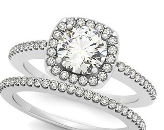 1ct  6.5mm  Forever One (GHI) Moissanite Solid 14K White Gold  Halo  Engagement  Ring Set  - OV61926
