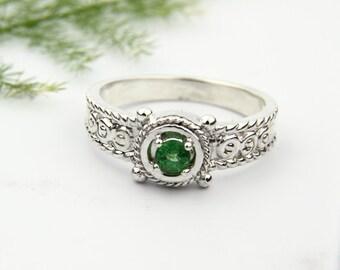 Natural Green Tsavorite Garnet Solid 14K White Gold Diamond Ring