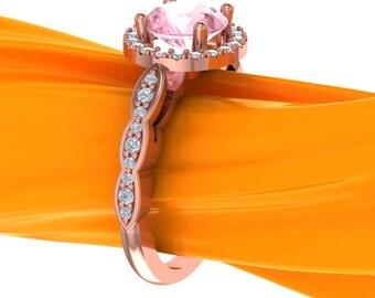 Natural Morganite Ring Set, Diamond Halo Morganite Engagement Halo Ring in 14k Roes gold, 7mm Round - eng406