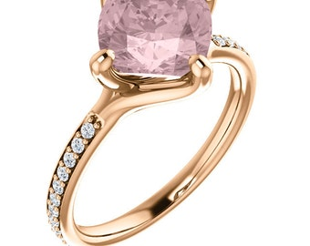 Natural AAA 8mm Antique Cushion Cut Morganite  Solid 14K rose  Gold Diamond Engagement Ring Set - ST233403