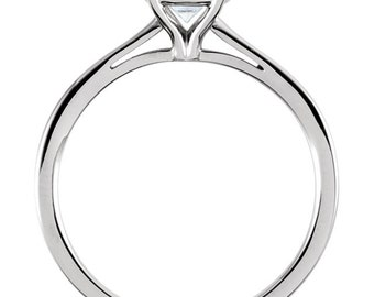 6.5mm Round Forever One (GHI) Moissanite Solid 14K White Gold  Solitaire  Engagement Ring ST233525