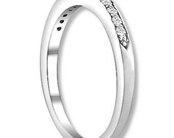 14K White / Yellow / Rose  Gold  Natural Round Diamond Wedding Band  Aniversary Ring ENS4112