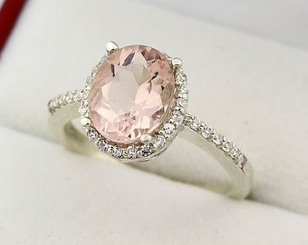 Natural 10x8mm  AAA Fancy Pink Morganite  Solid 14K White Gold Diamond Halo engagement Ring -GEM11