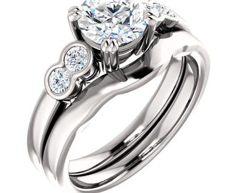 1.00ct  5 stone  Moissanite Solid 14K White Gold  Halo  Engagement  Ring Set - ST82776*****Specal****