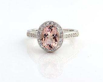 Natural Morganite  14K White Gold  Diamond Engagement Halo Ring - Gem814