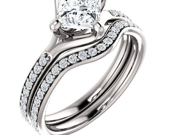 1ct Square Forever One (GHI) Moissanite  Solid 14K White Gold   Engagement  Ring Set  - ST233403