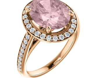 14K Rose Gold Natural Morganite  and Diamond Halo wedding Ring Set  -ST233984  With  Certified Appraisal