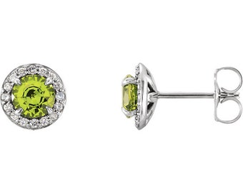 Genuine Peridot  & Diamond Halo Earrings In 14K White/Yellow/Rose Gold