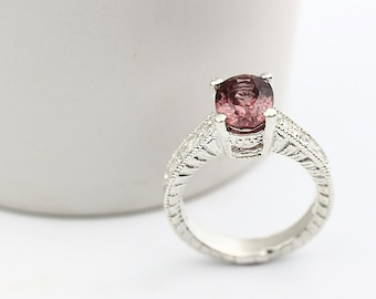 Natural VVS Pink Zircon Solid 14K White Gold Diamond Ring