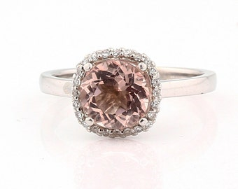 7.5mm Round 1.6 ct Natural  Morganite Solid 14K White Gold Diamond Engagement Ring - Gem843****SPECIAL****
