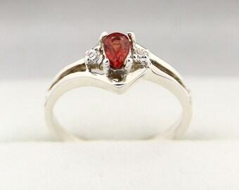 Natural Orange Sapphire Solid 14K White Gold Diamond Ring