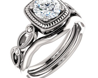 1ct 6.5mm Round  Forever One (GHI) Moissanite Solid 14K White Gold  Vintage Style  Engagement  Ring Set - ST233452-1360