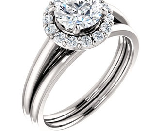 1 ct  Forever One Moissanite Solid 14K White Gold  Halo-Styled  Engagement Ring Set,Bridal Ring Set -ST233965
