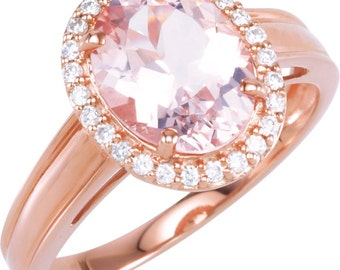 Natural  10x8mm Pink Morganite  Solid 14K Rose Gold Diamond engagement  Halo Ring - ST79624
