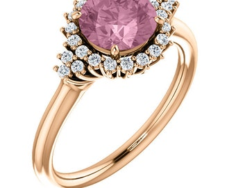 Natural Fancy AAA 7mm Round Morganite  Solid 14K rose  Gold Diamond halo Engagement Ring Set-ST233761