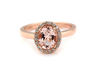 Natural  AAA 9x7 mm Pink Morganite  Solid 14K Rose Gold Diamond engagement  Halo Ring - Gem874