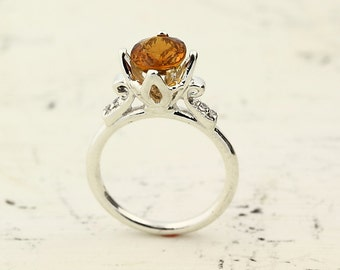 Natural Yellow Tourmaline Solid 14K White Gold Diamond Ring