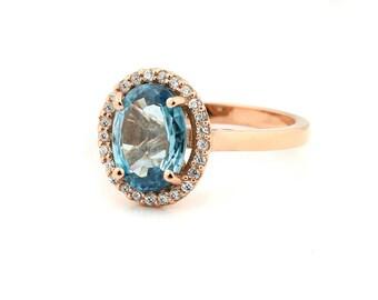 Natural Stunning  10.5x7 mm Blue Zircon Solid 14K Rose  Gold Diamond Halo Ring - Gem918