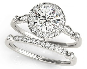 Certified  Forever One Moissanite and Diamond  Vintage Style Engagement  Ring Set in 14K White Gold - OV62175