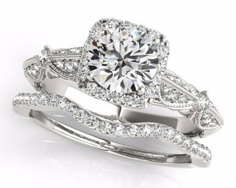 Forever One Moissanite Solid 14K White Gold Diamond Engagement Ring Set, Certified Bridal Set- OV61985
