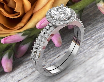 14k White Gold Moissanite (EF) Engagement Ring Set, Wedding Ring Set, Halo Style Bridal Ring Set  Gem1378