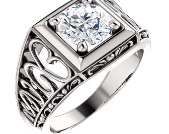 1.25  ct Forever One (GHI) Moissanite Solid 14K White Gold Floral Style Vintage  Ring  ST233157