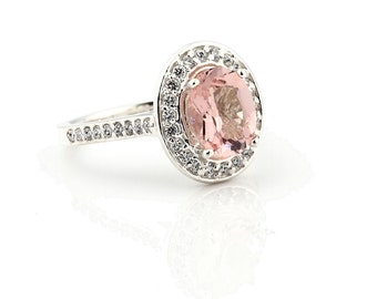Natural AAA Pink Morganite  Solid 14K White Gold Diamond engagement  Halo Ring - Gem798