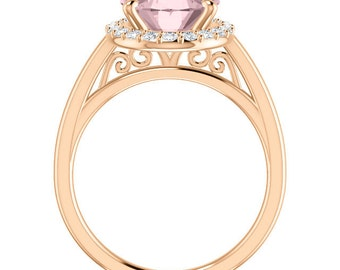 Natural AAA Morganite Ring Set, Diamond Halo Morganite Engagement Ring Band Set, Roes gold, 11x9mm gemstone - ST233965