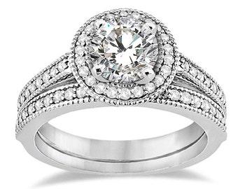 1 carat 6.5mm Round Forever One (GHI) Moissanite   Halo  Diamond Engagement Ring Set, Bridal Set ENS4256