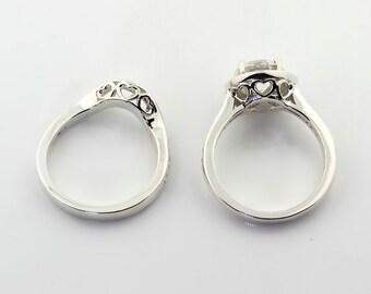 1.50  carat  Forever One (GHI) Moissanite 14K White Gold  Diamond Engagement Halo Ring Set - Gem807